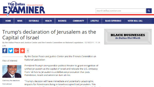 examiner posting of jerusalem news release